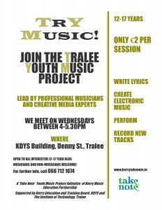 The Tralee Youth Music Project (Try Music!)